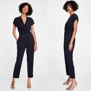 Zara tencel jumpsuit with drape detail